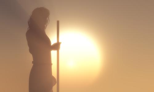 Silhouette of Jesus in the sunlight