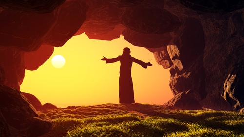 Man praying in the cave.